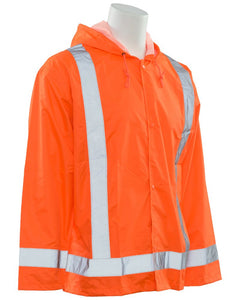 Class 3 ANSI/ISEA 107 Hi-Viz Orange Oversized Rain Coat with Attached Hood