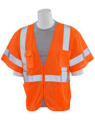 Class 3 Hi-Viz Orange Vest Mesh with Zipper