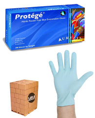 (112 Case/Full Pallet) Aurelia Protege Blue 4mil Nitrile Powder Free Exam Gloves