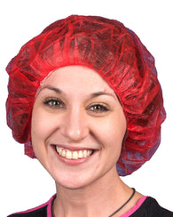 (1000/Case) Red Disposable Polypropylene Bouffant Scrub Hair Net Caps