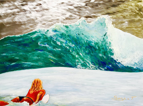 Surfing #women #surfer #surfing #waves #ocean #surfboard #metal art #Original wall decor