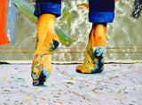 Happy Feet Print on Metal, Fine Art Oil Painting on Stainless Steel Panel Wall Art Decor