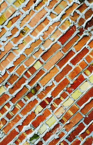 Colored Bricks Park City, Aluminum Print, yellow and red photo art print on aluminum