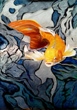 Metal Koi Fish Metal Art Print, Koi Aluminum Giclee Art Print, Unique Koi Fine Art Painting