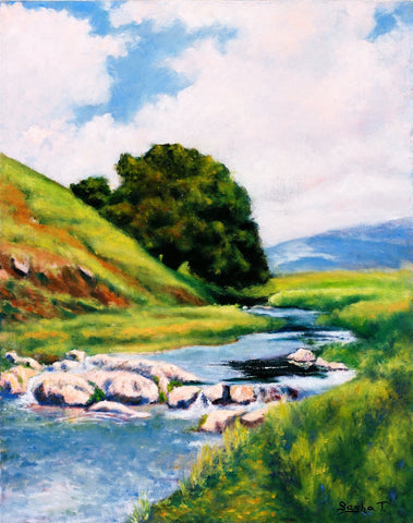 California impressionism painting, Landscape art print on aluminum, river, oak tree, flower fields
