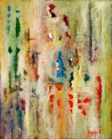 Abstract Art Print Aluminum. Red, Yellow, Green, Purple, pallet knife painting, Original Painting