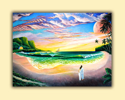 Romantic couple on the beach print at sunset hawaii, surf, waves, sand, palm trees