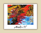 Abstract painting, Landscape painting of trees, water reflection, and leaves. Fine art print