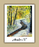 Landscape print of forest path sumer time green, blue, white and purple painting