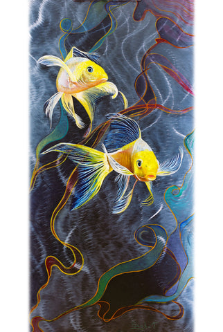 Abstract Print on Aluminum. Fine Art Print, Koi Fish ART on Metal, Yellow, Blue, Green