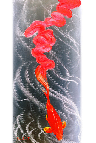 Metal Art Print on Aluminum - Koi Fish Art on Metal - Abstract Fine Art Print - Koi Fish