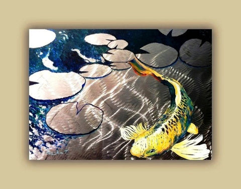 Aluminum Print, Koi Fish Print On Metal. Fish Art - Yellow - Blue - Green 3D Painting of Koi Fish