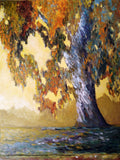 Eucalyptus Tree Painting Print on Aluminum, Impressionistic California Sunrise