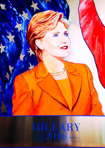 Hillary Clinton Painting Original Art 2016 Presidential Campaign Oil on Stainless Steel Panel