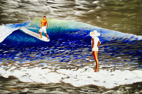 Surfing Art, Malibu California Painting on Metal, Aluminum Prints, Original Wall Art Decor