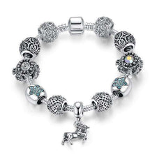 925 Tibetan Silver Horse Charm Bracelet With Crystal Beads