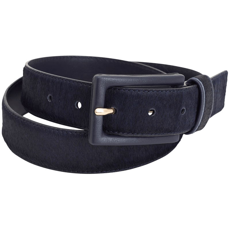 Blue Haircalf Leather Belt by Montar