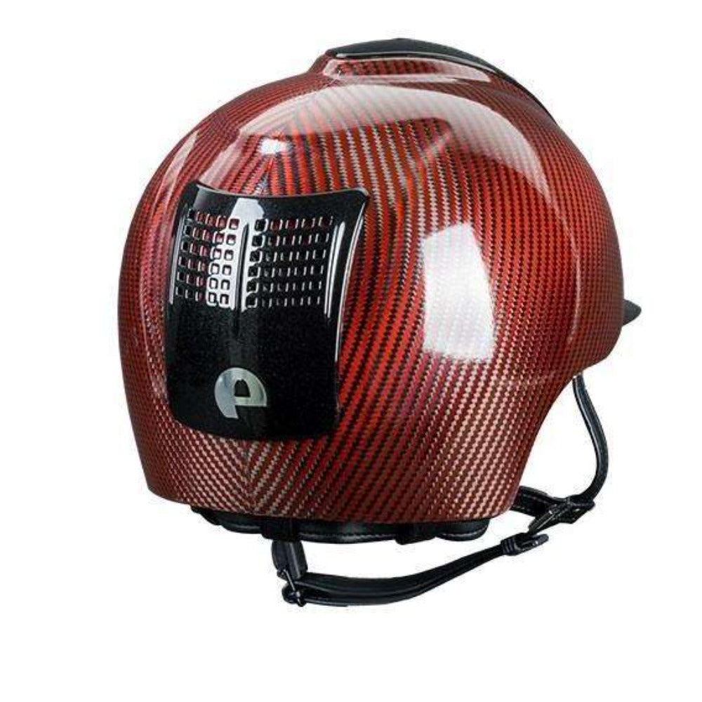 E-LIGHT Carbon Helmet - Shine Red with 2 Metal Black Inserts by KEP