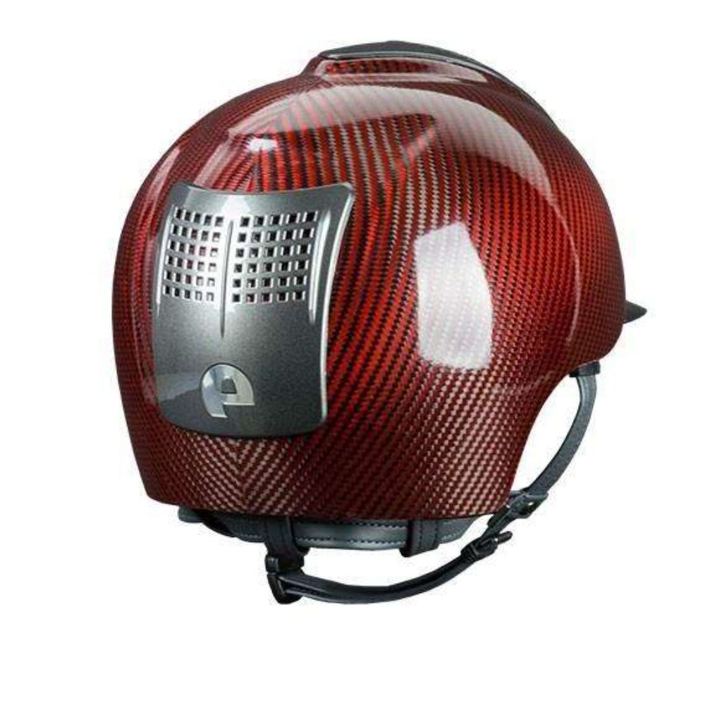 E-LIGHT Carbon Helmet - Shine Red with 3 Metal Grey Inserts by KEP