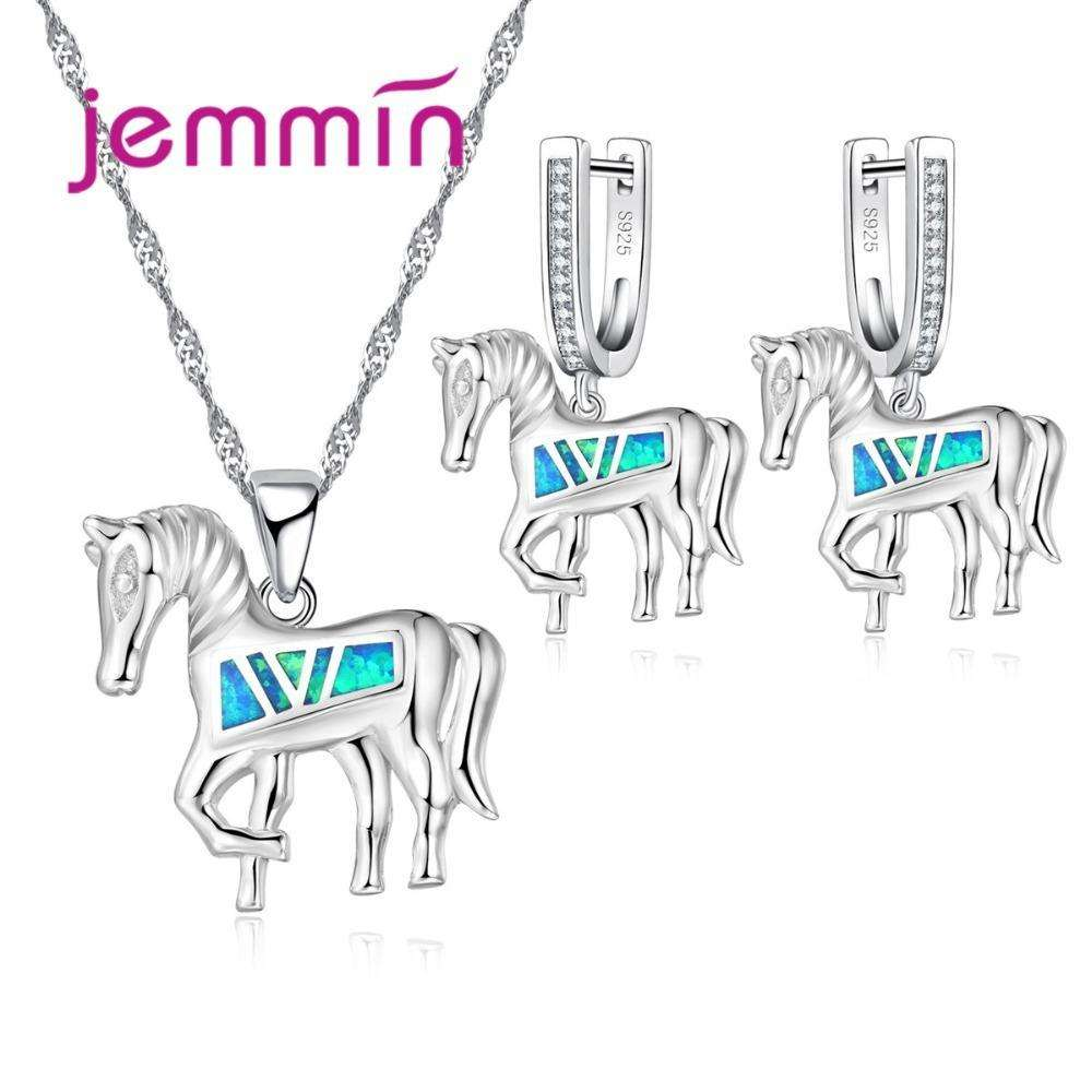 Ladies 925 Sterling Silver Crystal Jewelry Set