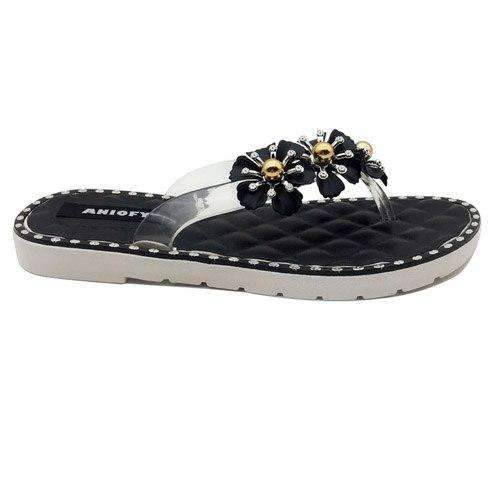 Ladies Casual Flip Flops Crystal Flower