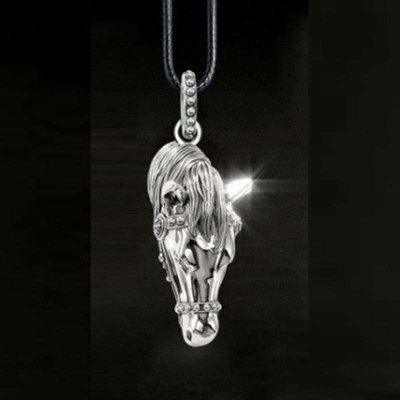 Mens Leather Rope Horse Necklace