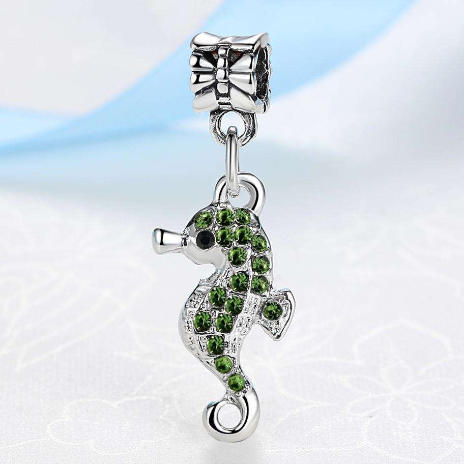 Silver Plated & Crystal Sea Horse Charm for Necklaces or Bracelets