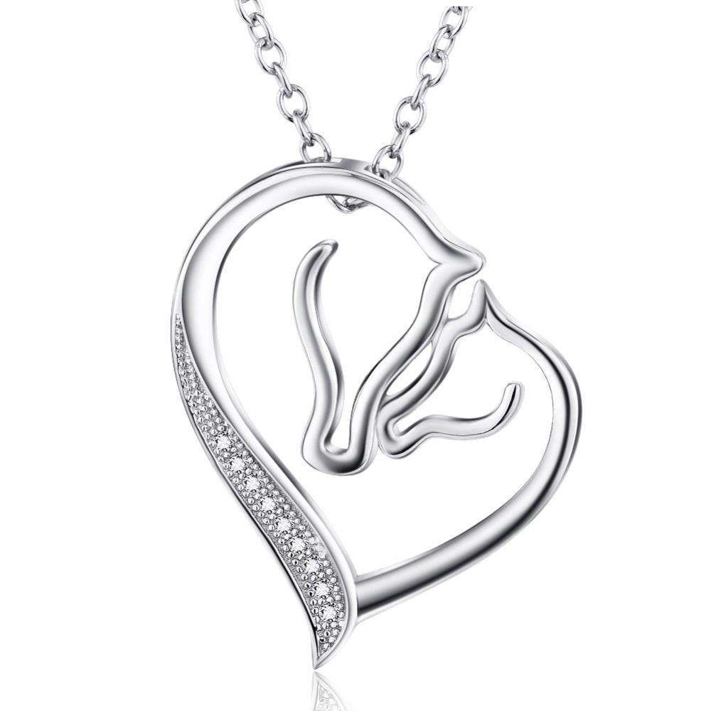 Sterling 925 Silver Horse Heart Necklace