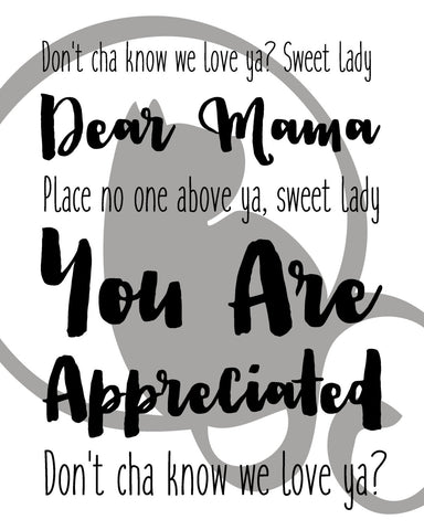 Dear Mama, 2pac, Mother, typography, lyrics, Wall Print, Lyric Art, Instant  Download