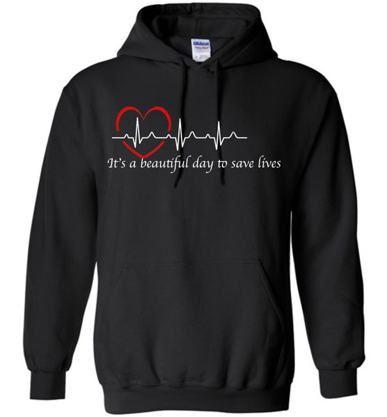 Grey's Anatomy-it's A Beautiful Day To Save Lives Quote White Writing Hoodie-fans-derek Sheppard-gift-tv-show-doctor-nurse-black-friday-sale