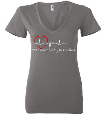 Grey's Anatomy-it's A Beautiful Day To Save Lives Quote White Writing-womens-v-neck-fans-derek Sheppard-gift-tv-show-doctor-nurse-bella-sale