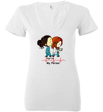 Greys Anatomy Quote-you're My Person-merideth Grey-christina Yang-womens-bella-school-nursing-nurse-gifts-rn-doctor-tv-show-v-neck-black Writing