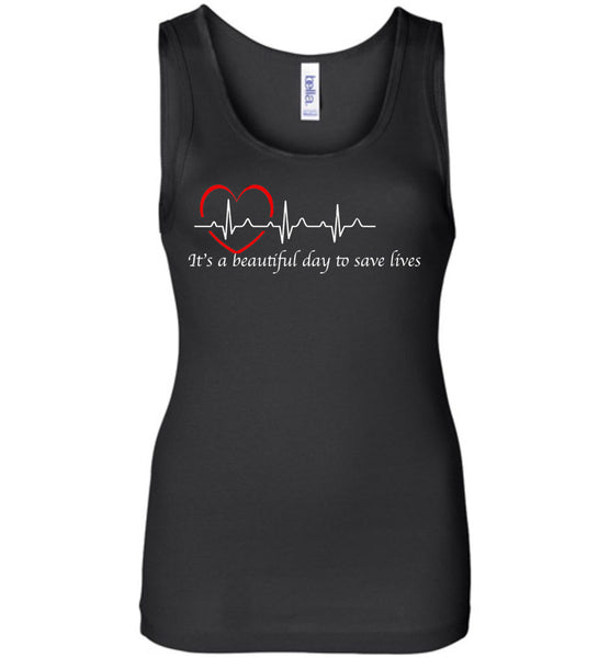 Grey's Anatomy-it's A Beautiful Day To Save Lives Quote White Writing-fans-derek Sheppard-gift-tv-show-doctor-nurse-bella-tank-top