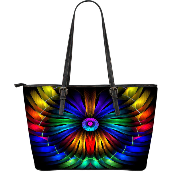 Colour explosion leather tote bag