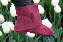 Aurora dance boot burgundy folded down
