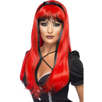 Bewitching Wig, Black-Red