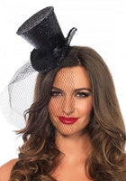 Leg Ave, Mini Glitter Top Hat with Veil, Black