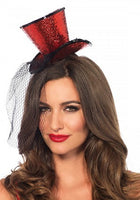 Leg Ave, Mini Glitter Top Hat with Veil, Red