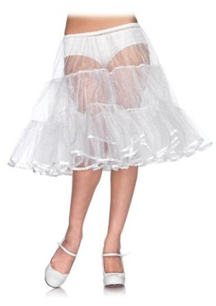 Shimmer, Knee Length Petticoat, White