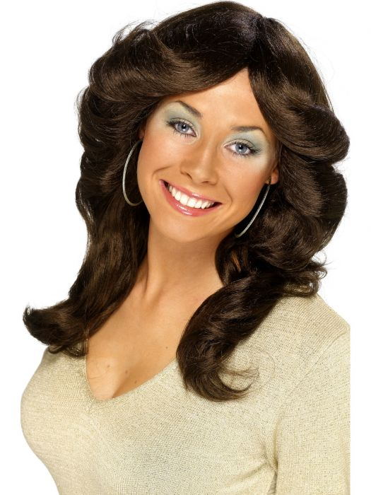 70's Flick Up Wig, Brown