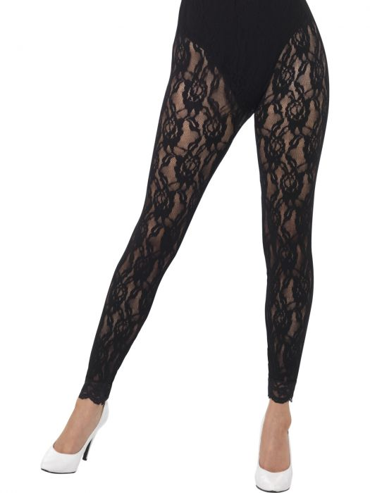 80s Lace Leggings Black