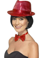 Sequined Trilby Hat, Red