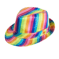 Rainbow Sequin Fedora