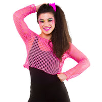 80's Fishnet Top, Neon Pink