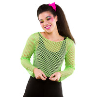 80's Fishnet Top, Neon Green