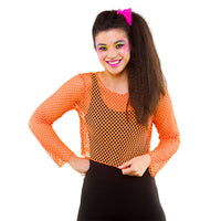 80's Fishnet Top, Neon Orange