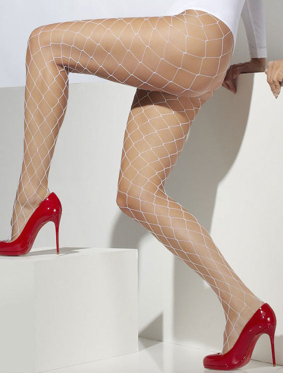 Tights, Diamond Net, White