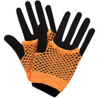 80's Net Gloves, Neon Orange