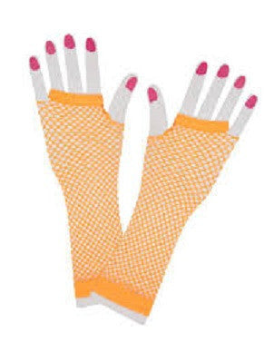 80's Net Gloves Neon Orange Long