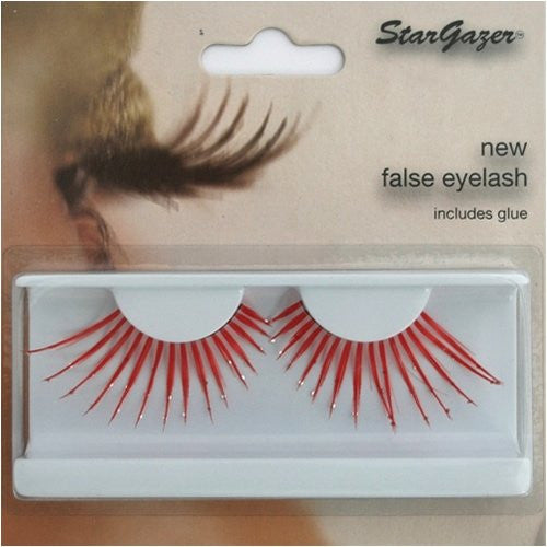 Eyelashes Feather, Red with Diamante